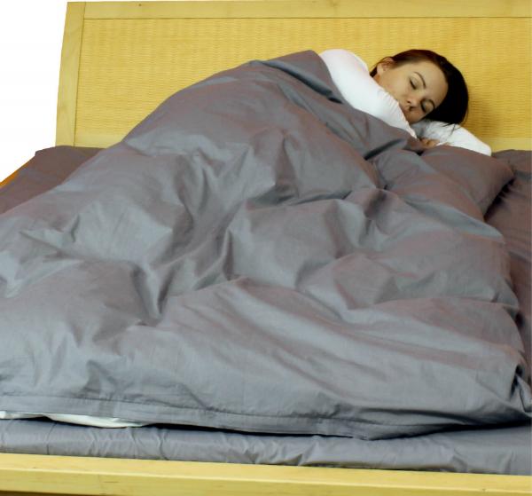 Abschirmende Bettwaesche aus Steel-Gray zur HF-Abschirmung