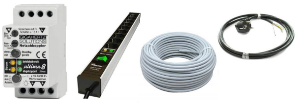 Netzabkoppler, Steckdosenleisten und geschirmte Kabel zum Schutz vor Elektrosmog
