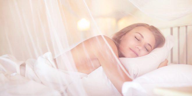 Frau im Bett mit Baldachin gegen Elektrosmog