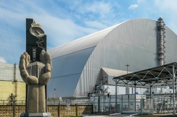 Mahnmal beim Reaktor von Tschernobyl