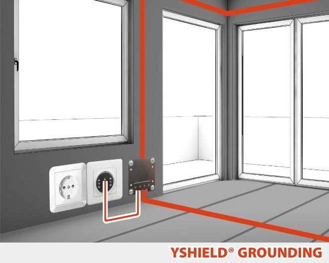 Erdungsplatte Wand GW - Erdung und Potenzialausgleich für die Elektrosmog Abschirmung