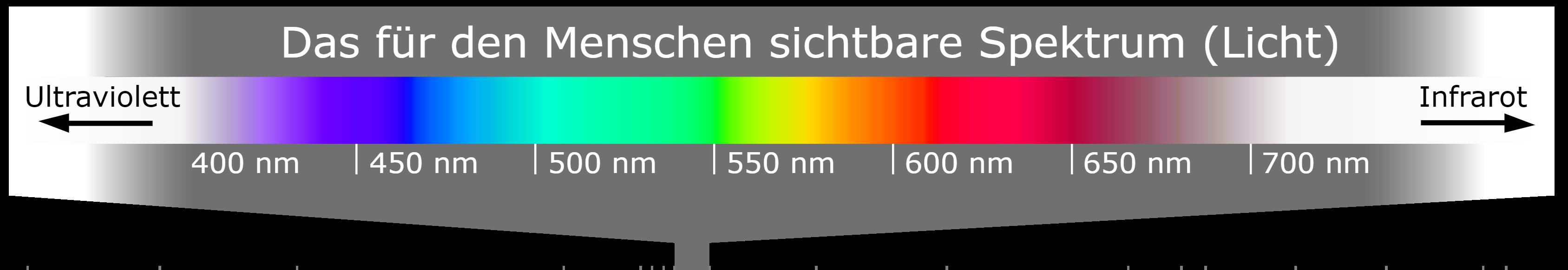 Übersicht sichtbares Licht für Menschen - Licht ist Teil vom elektromagnetisches Spektrum